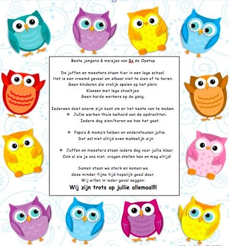 Brief van basisschool Opstap aan de leerlingen